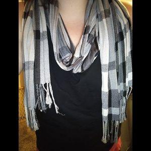 Grey, White, & Black Striped Scarf